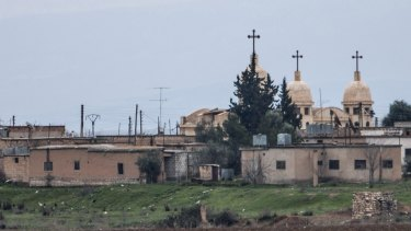 A general view shows a church in the Assyrian village of Abu Tina, which was recently captured by Islamic State fighters.