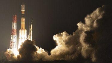 Japan's H-IIB rocket lifts off at the Tanegashima Space Centre southern Japan at 12.26am Saturday, Sydney time.