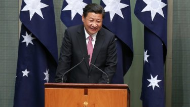 Chinese President Xi Jinping addresses members of the upper and lower houses.