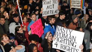 Hundreds protest in opposition of Donald Trump's presidential election victory in Boston.