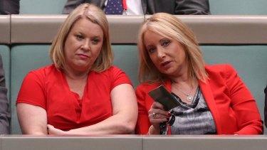 Former members Natasha Griggs and Karen McNamara during question time at Parliament House in November 2016.