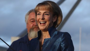 Employment Minister Michaelia Cash at a truck rally at Parliament House.