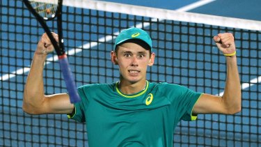 Pumped: Alex De Minaur celebrates his win over Benoit Paire to surge into the final.