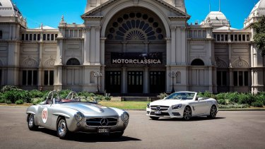 The old and the new: The 1957 Mercedes 220SL (left) alongside its 2014 direct successor.
