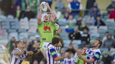 Canberra Raiders skipper Jarrod Croker soars high during this year's home win over Newcastle.