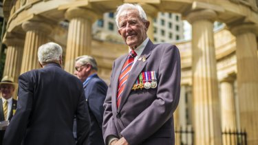 WWII veteran Cyril Allender at the 70th anniversary of the end of World War II at the Shrine of Rememberance in Brisbane.