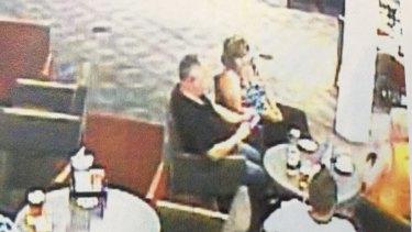 CCTV still shows Sharon Yarnton (far right, in orange shirt) sitting with her husband Dean Yarnton (far right, white shirt) at the Merrylands Bowling Club on January 31, 2015