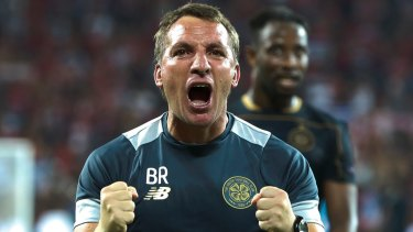 Pumped up Celtic coach Brendan Rodgers after his team made it through on aggregate.