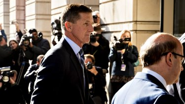 Michael Flynn, US national security advisor arrives at the US Courthouse in Washington, DC.