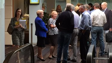 Bronwyn Bishop enters Dee Why RSL from a side door for the Liberal pre-selection on Saturday.