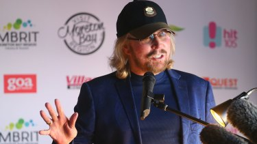Barry Gibb, formerly of Bee Gees, is welcomed back to his home town on Wednesday.