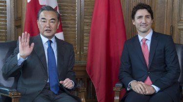 Canada Prime Minister Justin Trudeau meets Chinese Foreign Minister Wang Yi in Ottawa.