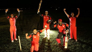 Wyndham Jags cricketers, from left, Vamsidhar Reddy, Binu Mohan, Vishwanath Annamraju, Arun Baby and Jigar Prajapati.