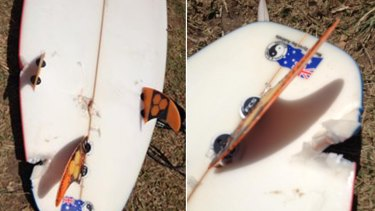 A photo on Facebook, believed to be the board of the man bitten by a shark at Ballina on Wednesday.