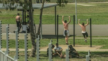 Prisoners in the recreation grounds of the remand centre.