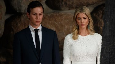 "Jared Kushner and Ivanka Trump. Donald Trump says his son-in-law ""is doing a great job for the country""."