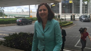 Labor leader Annastacia Palaszczuk arrives at Parliament House for her meeting with independent MP Peter Wellington.