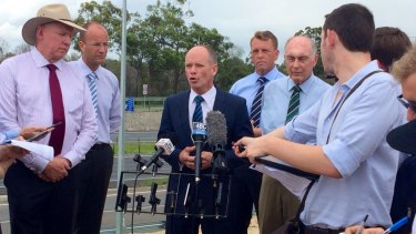 Premier Campbell Newman holds a press conference with Jeff Seeney, Scott Emerson and Warren Truss at North Lakes on Monday.