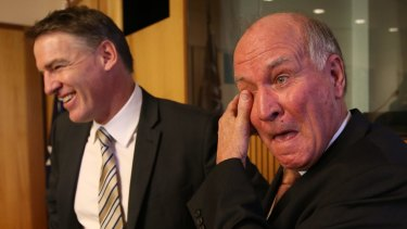 Rob Oakeshott (left) is shaping as a surprise challenger but the Nationals are confident about seeing off Tony Windsor (right).