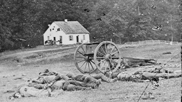 Confederate soldiers lie dead in Maryland in 1862.