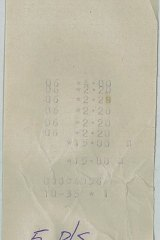 Lunch bill from the Tallarook General Store.