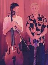 On tour: Kirk Brandon and cellist Sam Sansbury.