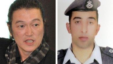 Captured: Japanese journalist Kenji Goto (left) and Jordanian pilot Muath al-Kasaesbeh.