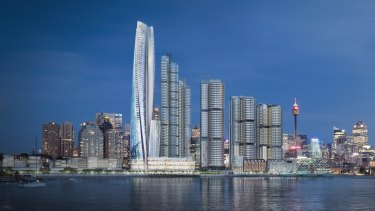 An artist's impression of Crown Resorts' proposed casino, hotel, apartment building at Barangaroo