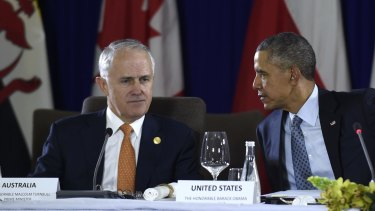 Mr Turnbull and US President Barack Obama - pictured at the Asia-Pacific Economic Cooperation summit in November - will meet in the Oval Office on Tuesday, local time