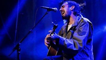 Gareth Liddiard sings at the Odeon Theatre at Dark Mofo, Hobart.