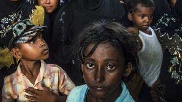 Muslim Rohingya in a shelter in Birem Bayuen in Indonesia's Aceh province.