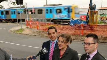 Mark Wild, right, appears with State Minister for Public Transport Jacinta Allan and the member for Oakleigh, Steve Dimopoulos in Melbourne in June for an announcement about next generation,high-capacity trains.