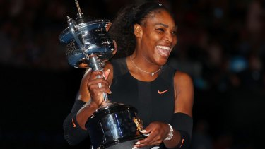 Serena Williams with the Daphne Akhurst Trophy.