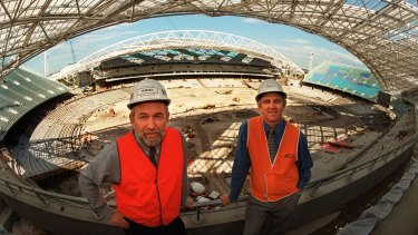 Ed Obiala during construction of Olympic Stadium, now ANZ, in 1998.