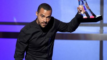 Honoree Jesse Williams accepts the Humanitarian Award onstage during the 2016 BET Awards.