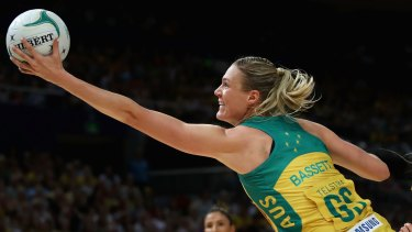 Unstoppable: Caitlin Bassett proved far too dominant in the Constellation Cup.