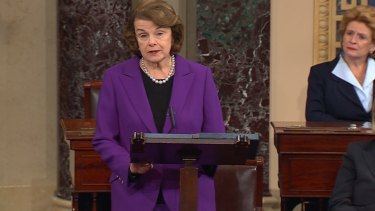 Exposing CIA actions: Senate intelligence committee chairwoman Dianne Feinstein announces  in Washington the findings of the report into CIA torture techniques and their effectiveness.