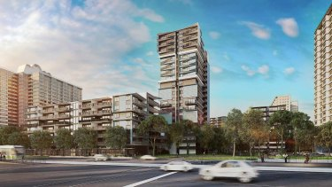 Apartments that would be built on land between the existing Flemington public housing towers.
