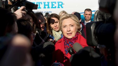 Democratic presidential candidate Hillary Clinton speaks to reporters on Monday.