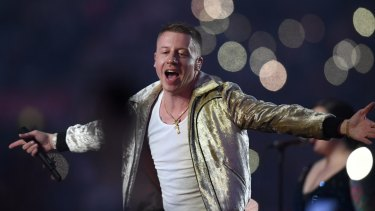 US artist Macklemore pranced and danced on to the stage, the crowd erupted.