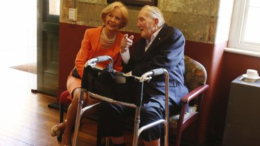 Tom Uren with then Governor-General Quentin Bryce in 2013.