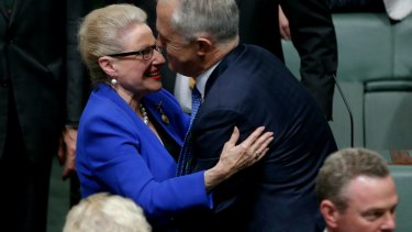 Former speaker Bronwyn Bishop is congratulated by Prime Minister Malcolm Turnbull after delivering her valedictory in the House of Representatives in May, 2016.