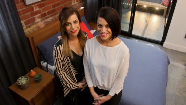 The Block contestants Alisa and Lysandra Fraser inside their renovated apartment.