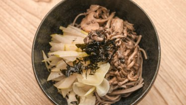 Soba noodles, nashi and pickled mushrooms.