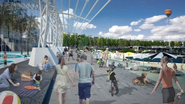 An artist's impression of what the lakeside pool and beach could have looked like in the City to Lake project.