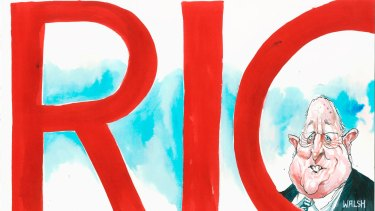 Rio Tinto CEO Sam Walsh has acknowledged there will be staff cuts. <i>Illustration: David Rowe</i>