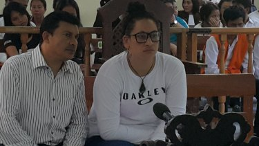 Myra Lynne Williams listening to her sentence being read in the Denpasar District Court on Thursday.