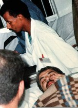 September 25, 1997: Khalid Mishal is rushed between hospitals in Amman, Jordan, after Israeli agents injected a poison into the Hamas leader's ear.