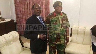 Robert Mugabe and Army General Constantino Chiwenga on Thursday.