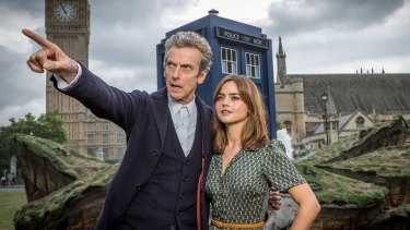 Peter Capaldi as The Doctor and Jenna Coleman as Clara in <i>Doctor Who</i>.